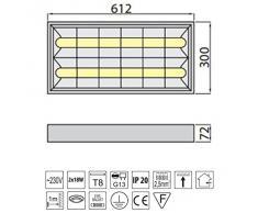 Rasterleuchte EVG geeignet für 2x LEUCHTSTOFFRÖHREN T8 60cm G13 230V Rasterlampe Bürolampe Deckenleuchte