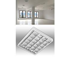 Aufbau Rasterleuchte Set mit 4 x LED T8 Röhren / Art. 8200-4-6153 / Rasterlampe Bürolampe Deckenleuchte / für Industrie- und Lagerhallen Schulen, Büros und Sozialräume Korridore, Treppen- Parkhäuser Kühl- und Lagerräume