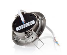 sweet led® Flaches Design LED Einbaustrahler Flach | 320 Lumen | 3.5W | 230V | Edelstahl Optik | Rund - Eckig | Schwenkbar Einbauspots Einbauleuchten Einbau led (Rund - Warmweiß)