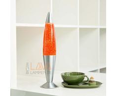 Lavalampe 42cm Orange Glitterleuchte E14 25W Kabelschalter Geschenkidee Weihnachten inklusive Leuchtmattel Retro Leuchte