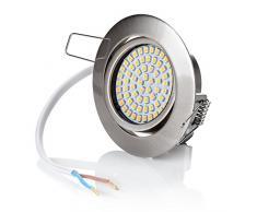 6 x stück sweet led® Flaches Design LED Einbaustrahler Flach | 320 Lumen | 3.5W | 230V | Edelstahl Optik | Rund | Schwenkbar Einbauspots Einbauleuchten Einbau led (Warmweiß)
