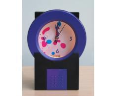 Dekorationsleuchte Dekoration-Uhr beleuchtete Uhr mit bewegenden in Flüssigkeit schwimmenden Farböl lila-schwarz Lampe + Uhr Lavaleuchte Geschenk