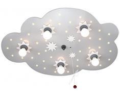 Elobra Sternenhimmel Lampe, Wolken Lampe Sternenwolke: Süße Deckenlampe Kinderzimmer mit verschiedenen Leuchtstufen, Nachtlicht, silber, Echtholz, mit Schlummerfunktion, Hergestellt in Deutschland