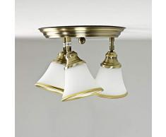 Dekorative Deckenlampe Badleuchte in Bronzeoptik / 3x E14 IP20 / Deckenleuchte im Jugendstil/Spots verstellbar