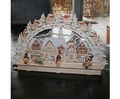 Colours-Manufaktur 3D Holz-Schwibbogen Stadt mit Winterkindern Lichterbogen hell (Natur)