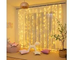 LED Lichtervorhang, Lichternetz 3x3m 300 LEDs, IP44 Wasserfest Niederspannung 31V, 8 Modi Vorhang Lichterketten für Innen, Weihnachten, Kinderzimmer, Außen, Party, Hochzeit usw. Warmweiß