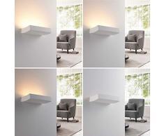 Lindby Wandleuchte, Wandlampe Innen Dana dimmbar (Modern) in Weiß aus Gips/Ton u.a. für Wohnzimmer & Esszimmer (2 flammig, G9, A+, inkl. Leuchtmittel) - Wandfluter, Wandstrahler, Wandbeleuchtung