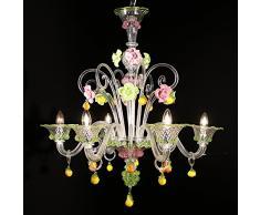 Kronleuchter Murano Zara U2013 6 Flammig U2013 Kristall Dekor Pink Und Grün | Zara  Model U2013