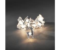 Konstsmide 3184-103 LED Dekolichterkette verspiegelte Rentiere / für Innen (IP20) / Batteriebetrieben: 3xAAA 1.5V (exkl.) / 10 warm weiße Dioden / transparentes Kabel
