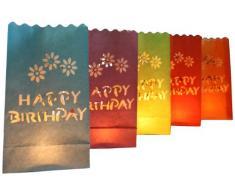 Night Sky Lanterns Lichttüten, Happy Birthday, 10 Stück, farbig sortiert