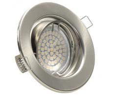 SONDERAKTION Decken Einbaustrahler DECORA; 230V; 1er Set inkl. SMD LED 3,3W = 35W (60er SMD LED Warmweiss) & GU10-Fassung; schwenkbar; EDELSTAHL OPTIK gebürstet (auch in Chrom, Gold, Weiß); Einbauspot Spot Einbauleuchten Metall Stahl