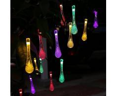 ledertek solarbetriebene Lichterkette im Tropfen-Design, 20LEDs, Wasserdicht, für Weihnachten/Dekolampe für draußen, Garten, Haus, Hochzeit, Party etc. (20LED, mehrere Farben)