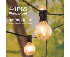 Lichterkette Außen Lichterkette Glühbirnen IP65 Wasserfest, Avoalre G40 warmweiss 30 Glühbirnen Lichterkette, 10M Innen-/Aussenbeleuchtung (max. 50 M) Ausdehnbar