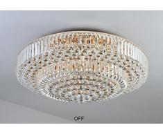 Wenrun Lighting Wohnzimmer LED 3 Helligkeit K9 Kristall Und S Golden  Spiegel Edelstahl Kronleuchter Deckenlampen