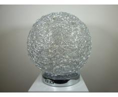 Moderne Halogen Tischleuchte Alissa D 30 cm Alu Draht Aluminium Kugelleuchte Dekoleuchte