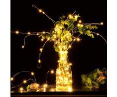 Kylewo LED Silberdraht Lichterkette, 8 Modi Lichterkette Draht Wasserdicht Led Lichterkette für Zimmer, Weihnachten, Kinderzimmer, Außen, Party, Hochzeit, DIY usw.