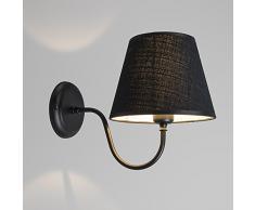 QAZQA Landhaus / Rustikal Wandleuchte Silea UP mit Schirm schwarz, Metall, Textil, Rund / LED geeignet E27 Max. 1 x 40 Watt