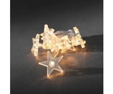 Konstsmide 1405-103 LED Dekolichterkette klare Sterne / für Innen (IP20) / Batteriebetrieben: 3xAA 1.5V (exkl.) / 10 warm weiße Dioden / transparentes Kabel