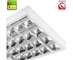 TOP SET LED Rasterleuchten mit 4X T8 LED 9W warmweiß 3000K G13 Bürolampe Rasterlampe