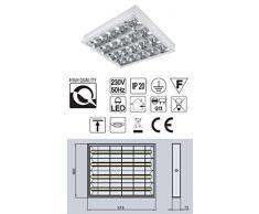 Aufbau Rasterleuchte / Art. 8200 / geeignet für 4X T8 LED Röhren / Rasterlampe Bürolampe Deckenleuchte / für Industrie- und Lagerhallen Schulen, Büros und Sozialräume Korridore, Treppen- Parkhäuser Kühl- und Lagerräume