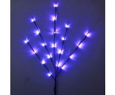 Dapei LED-Lichterkette auf 5 Rattanzweigen Lichterzweige Dekoration stimmungsvolle 20 LEDs batteriebetrieben Weidenzweige H77 cm Dekoleuchte Leuchtzweige für Weihnachten Garten Deko (Blau)