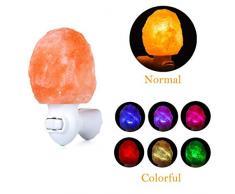 Authda Mini Salzlampe Himalaya led 7-Farbes Mauer Leichte hand Salzkristall-Lampen Naturalshape Dekorative Nachtischlampe Nachtlicht (Natural shape - 7 * 7 * 8cm)
