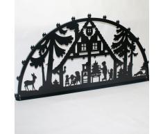 Schwibbogen Lichterbogen Metall - Motiv: Waldhaus - XXXL 2 Meter Breite Außen-Bereich schwarz glänzend * riesen groß * Erzgebirge Weihnachten Kinder