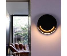 BQYY Außen Wandleuchte LED IP55 Wasserdicht Wandlampe 10W Warmweiß Ambiente Beleuchtung Schwarz Aluminium Gartenlicht für Outdoor Terrasse Balkon Wohnbereiche Außenwandleuchten
