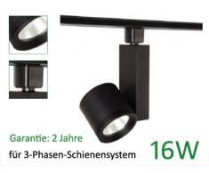 KRENN LED Strahler für 3-Phasen Schienensystem, 16 Watt, 3-Phasenstrahler, WW