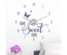 KLEBEHELD® Wandtattoo Uhr Home Sweet Home mit Schmetterling für Wohnzimmer, Küche, Flur oder Wohnbereiche Farbe grau, Größe 45x47cm | Uhrwerk silber, Umlauf 44cm