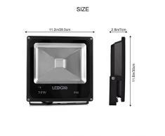 LEDGLE 50W LED Flutlicht, LED Wandfluter mit Fernsteuerung, COB LED Korn, 16 Farben, 4 Modi, IP66 Wasserfest