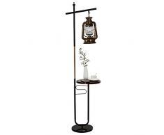 ZMLG Kreative Retro Standleuchte mit Ablage Industrie-Stil Stehlampe Landhaus Steampunk Stehleuchte mit Fußschalter für Schlafzimmer Büro Lesezimmer Esszimmer,Schwarz