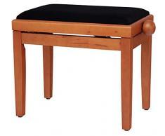 Classic Cantabile Pianobank Buche-matt (Höhenverstellbar von 47-56cm, Spindelmechanik, Sitzfläche 55 x 32cm, schwarzer Velourbezug, stabil)