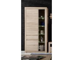 trendteam Wohnzimmer Vitrine Schrank Wohnzimmerschrank Sevilla, 94 x 200 x 38 cm in Eiche Sägerau Hell Dekor mit LED Beleuchtung in Warm Weiß und brünierten Glas