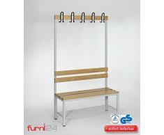 Umkleidebank Sitzbank einseitig mit Garderobenhaken 100 cm x 170 cm x 43 cm