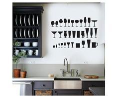 huayao Vinyl Wandtattoo Getränk Glas Wandaufkleber Küchenbar Home Interior Decor Weinglas Aufkleber Bar Art Wandbild 64X42Cm