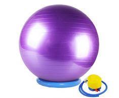 CHANG JIAER Gymnastikball mit Stabilität Basis/Pump 65cm Eignung-Kugel Flexible Sitz verbessert die Balance Kernkraft Posture Ball Chair Secure Anti-Burst-rutschfest-Kugel,Lila