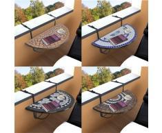 vidaXL Klapptisch Balkontisch Balkonhängetisch Hängetisch Tisch Mosaik Halbrund