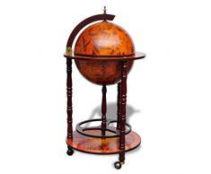 Tidyard Globus-Bar Barschrank Globus-Bartisch,Abmessungen (geöffnet):47 x 47 x 102 cm (B x T x H),Globus-Hausbar Tischbar mit Flaschenregal Massivholz