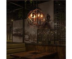 Retro Industrie Stil Pendelleuchte Kreativ Globus Entwurf Eisen Runden Bronze Lampenschirm Hängelampe, Küche Esszimmer Bar Balkon Droplight, D42CM, E14 * 4 Kerze Glühbirnen