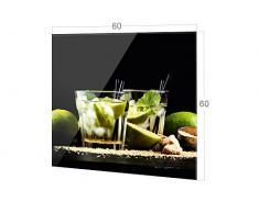 GRAZDesign Nischenrückwand Schwarz - Küche Glasrückwand Cocktailbar - Küchenrückwand Glas Cocktail Caipirinha / 60x60cm / 200163_60x60_SP