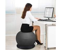 XGYUII Yoga Ball Gymnastikball PVC Eindickung Explosionsgeschützte Gymnastikball Mutterschaft Produktion Kugelfest Ring-Unter Yoga Ball Chair (schwarz Multi-Größe optional),Schwarz,65cm