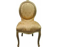 Casa Padrino Barock Esszimmer Stuhl Medallion Gold Blumenmuster / Gold - Barock Möbel - Limited Edition
