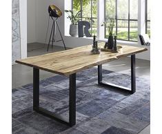 SAM Esszimmertisch 200x100 cm Quintus, echte Baumkante, naturfarben, massiver Esstisch aus Akazienholz, Metallbeine schwarz, Baumkantentisch