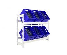 Getränkekistenregal 1000 x 1010 x 300 mm, 2 Ebenen, 100 kg Tragkraft/Ebene, WEISS