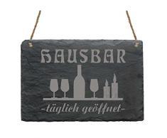Schiefertafel « HAUSBAR » mit MOTIV Cognac Wein Whisky Whiskey Scotch