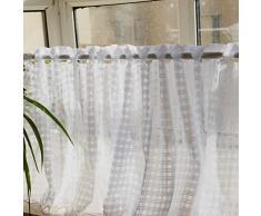 Vorhangstoffe Kurzer Kaffee Schöne Weiße Blumen Fensterbehandlungen Küchenbar Kurze Vorhänge Aushöhlen (Weiß, Kleines Gitter)