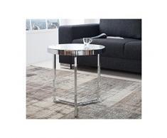 Lnxp Designer Couchtisch Glastisch Rund Runder Tisch Beistelltisch in Chrom Silber Milchglas Retro Art Deko