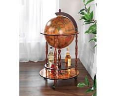 iovivo Globusbar aus Massivholz im klassischen Design, 51x51x92cm