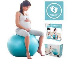 BabyGO Gymnastikball Schwangerschaft Sitzball Büro Schwangere Yoga Pezziball 75cm + KOSTENLOSE ÜBUNGSHEFT für Geburt Rückbildung Beckenbodentraining & Fitness Anti-Burst 1000KG Pezzi Ball